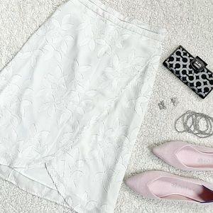 Ann Taylor Floral Tulip Skirt | Petite 00 | White